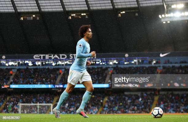 Leroy Sane of Manchester City celebrates scoring his side's third goal during the Premier League match between Manchester City and Burnley at Etihad...