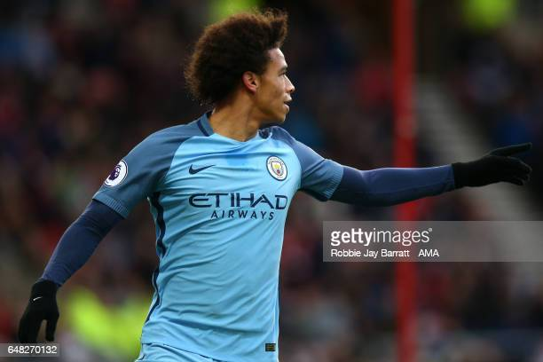 Leroy Sane of Manchester City celebrates scoring the second goal to make the score 02 during the Premier League match between Sunderland and...