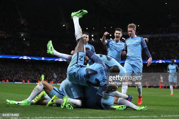 Leroy Sane of Manchester City celebrates with his temmates after scoring his team's fifth goal to make the score 53 during the UEFA Champions League...