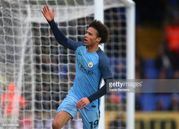 Leroy Sane of Manchester City celebtrates after scoring his sides second goal during the Emirates FA Cup Fourth Round match between Crystal Palace...