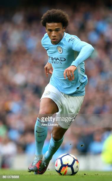 Leroy Sane of Manchester City during the Premier League match between Manchester City and Stoke City at Etihad Stadium on October 14 2017 in...