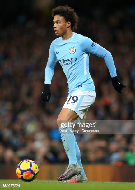 Leroy Sane of Manchester City during the Premier League match between Manchester City and West Ham United at Etihad Stadium on December 3 2017 in...