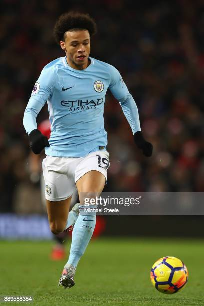 Leroy Sane of Manchester City during the Premier League match between Manchester United and Manchester City at Old Trafford on December 10 2017 in...