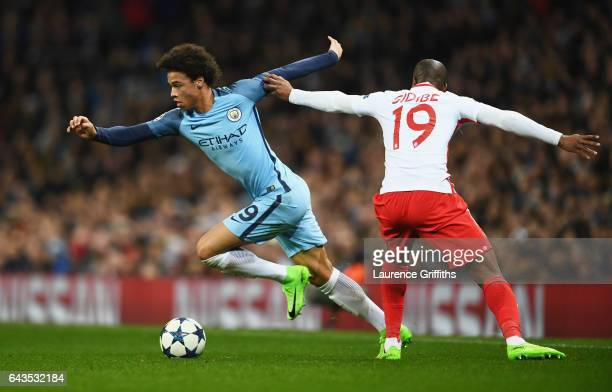 Leroy Sane of Manchester City evades Djibril Sidibe of AS Monaco during the UEFA Champions League Round of 16 first leg match between Manchester City...