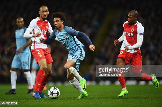 Leroy Sane of Manchester City evades Fabinho and Djibril Sidibe of AS Monaco during the UEFA Champions League Round of 16 first leg match between...