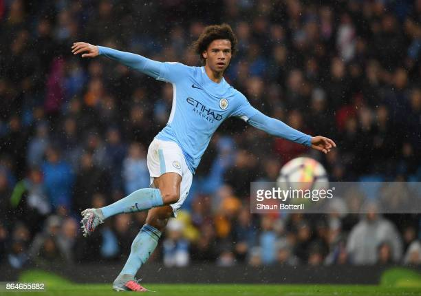 Leroy Sane of Manchester City fires in a shot during the Premier League match between Manchester City and Burnley at Etihad Stadium on October 21...