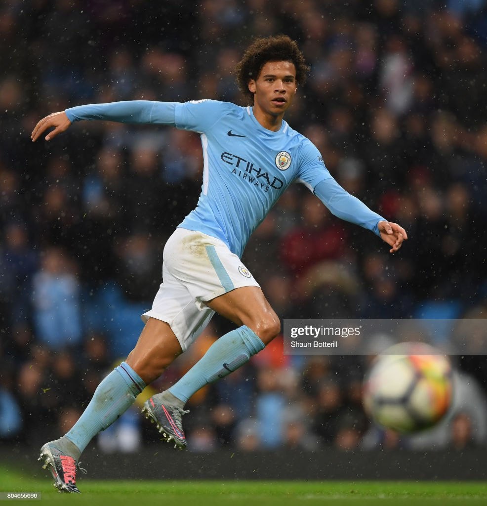 Leroy Sane of Manchester City fires in a shot during the Premier League match between Manchester City and Burnley at Etihad Stadium on October 21, 2017 in Manchester, England.