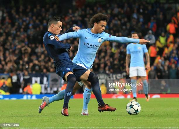Leroy Sane of Manchester City in action against Jose Callejon of SSC Napoli during the UEFA Champions League Group F soccer match between Manchester...