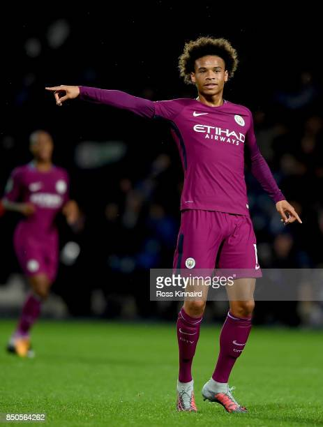 Leroy Sane of Manchester City in action during the Carabao Cup third round match between West Bromwich Albion and Manchester City at The Hawthorns on...