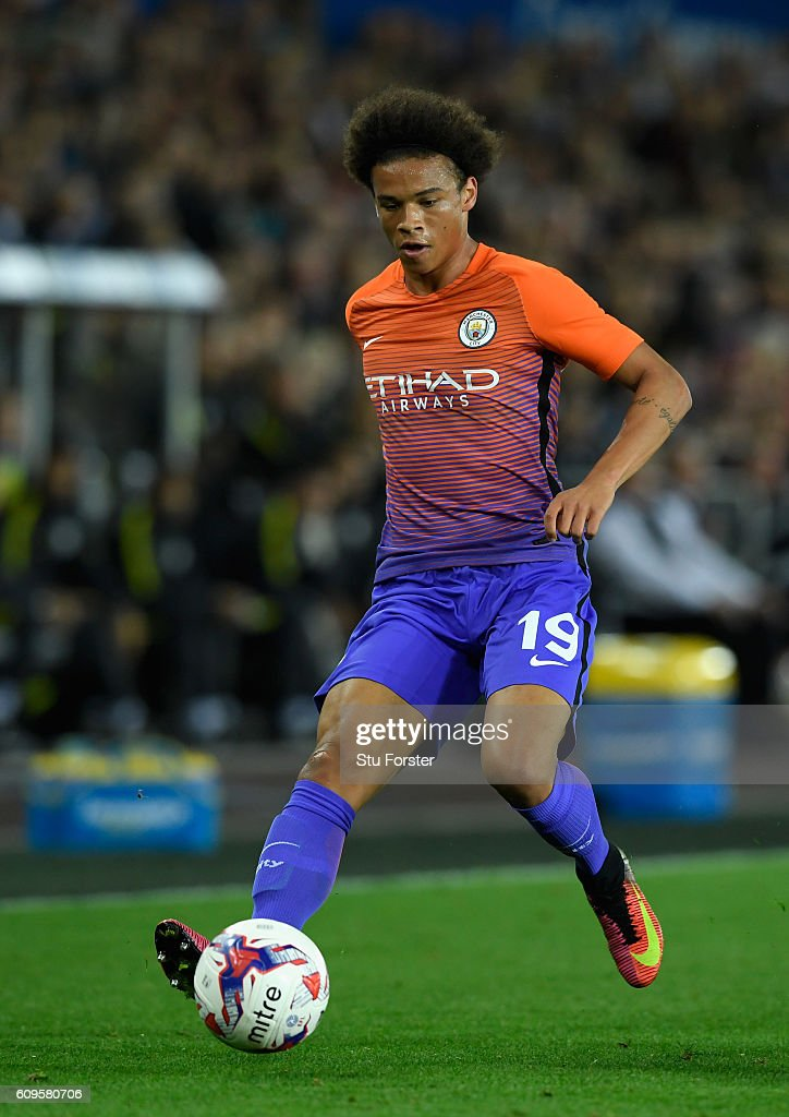 Leroy Sane of Manchester City in action during the EFL Cup Third Round match between Swansea City and Manchester City at the Liberty Stadium on September 21, 2016 in Swansea, Wales.
