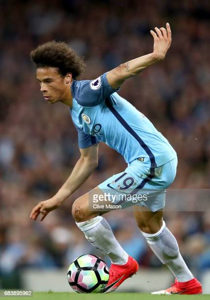 Leroy Sane of Manchester City in action during the Premier League match between Manchester City and West Bromwich Albion at Etihad Stadium on May 16...