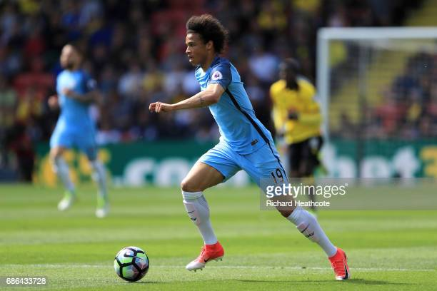 Leroy Sane of Manchester City in action during the Premier League match between Watford and Manchester City at Vicarage Road on May 21 2017 in...