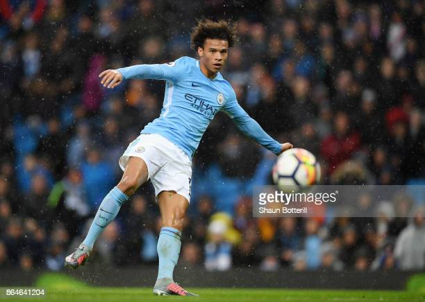 Leroy Sane of Manchester City in action during the Premier League match between Manchester City and Burnley at Etihad Stadium on October 21 2017 in...