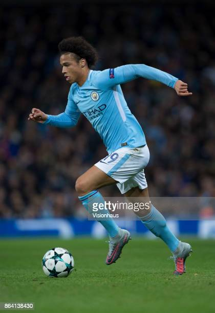 Leroy Sane of Manchester City in action during the UEFA Champions League group F match between Manchester City and SSC Napoli at Etihad Stadium on...