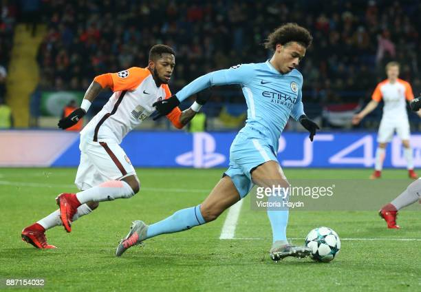 Leroy Sane of Manchester City in action during the UEFA Champions League group F match between Shakhtar Donetsk and Manchester City at Metalist...