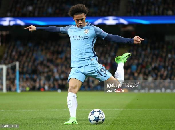 Leroy Sane of Manchester City in action during the UEFA Champions League Round of 16 first leg match between Manchester City FC and AS Monaco at...