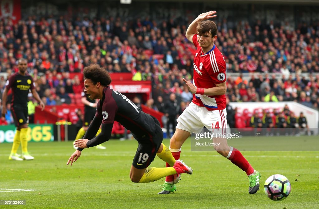 Leroy Sane of Manchester City is fouled by Marten de Roon of Middlesbrough in the box and a penalty is awarded to Manchester City during the Premier League match between Middlesbrough and Manchester City at the Riverside Stadium on April 30, 2017 in Middlesbrough, England.