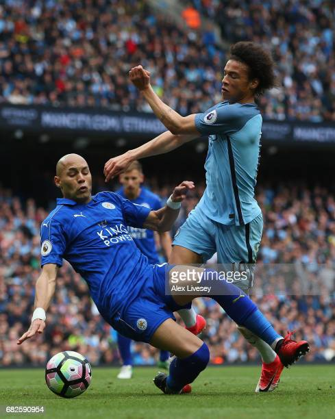 Leroy Sane of Manchester City is fouled by Yohan Benalouane of Leicester City and a penalty is awarded to Manchester City during the Premier League...