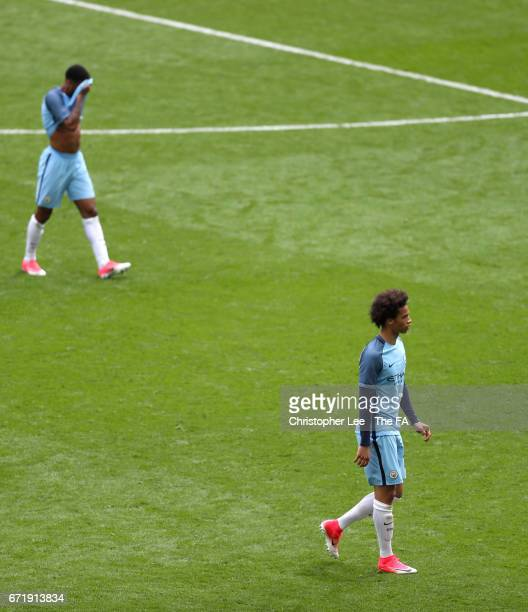 Leroy Sane of Manchester City is seen at the extra time half time during the Emirates FA Cup SemiFinal match between Arsenal and Manchester City at...