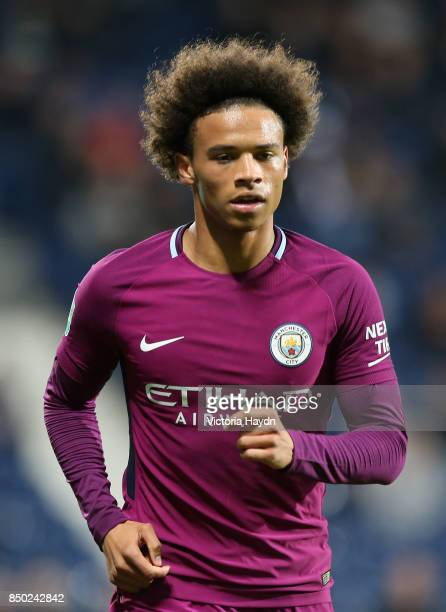Leroy Sane of Manchester City looks on during the Carabao Cup Third Round match between West Bromwich Albion and Manchester City at The Hawthorns...