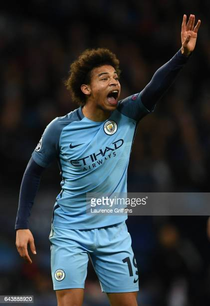 Leroy Sane of Manchester City looks on during the UEFA Champions League Round of 16 first leg match between Manchester City FC and AS Monaco at...