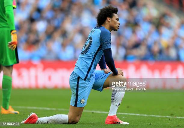 Leroy Sane of Manchester City reacts during the Emirates FA Cup SemiFinal match between Arsenal and Manchester City at Wembley Stadium on April 23...