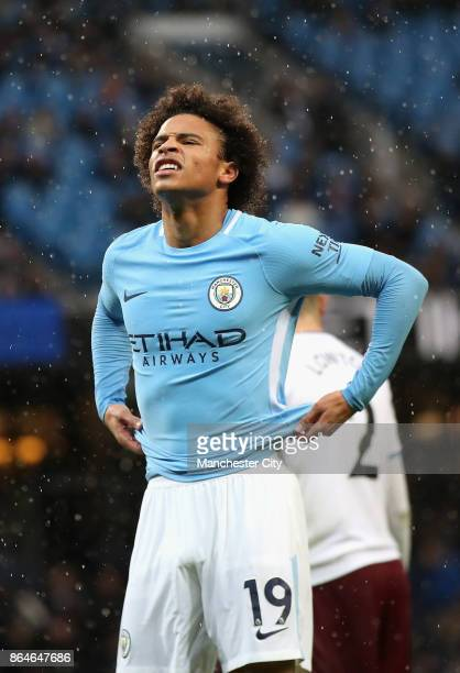 Leroy Sane of Manchester City reacts during the Premier League match between Manchester City and Burnley at Etihad Stadium on October 21 2017 in...