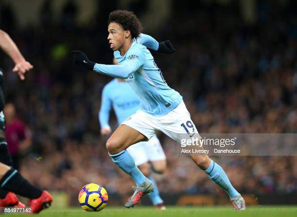 Leroy Sane of Manchester City runs with the ball during the Premier League match between Manchester City and West Ham United at Etihad Stadium on...
