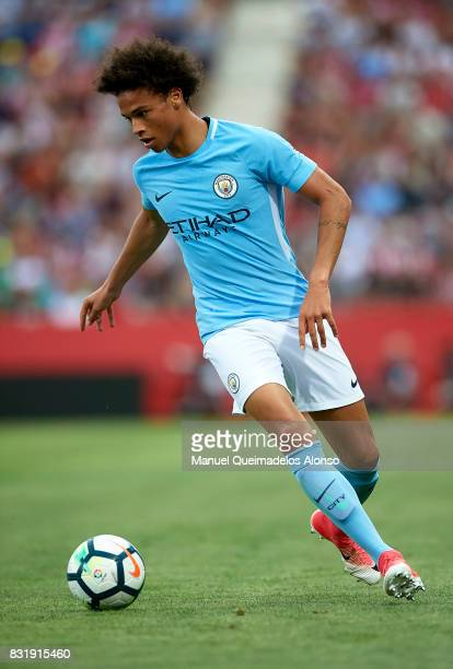 Leroy Sane of Manchester City runs with the ball during the preseason friendly match between Girona and Manchester City at Municipal de Montilivi...