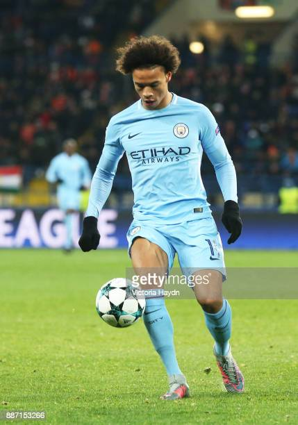 Leroy Sane of Manchester City runs with the ball during the UEFA Champions League group F match between Shakhtar Donetsk and Manchester City at...
