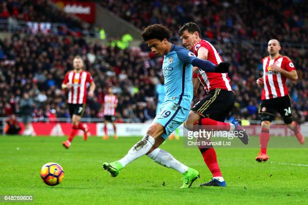 Leroy Sane of Manchester City scores his side's second goal during the Premier League match between Sunderland and Manchester City at Stadium of...