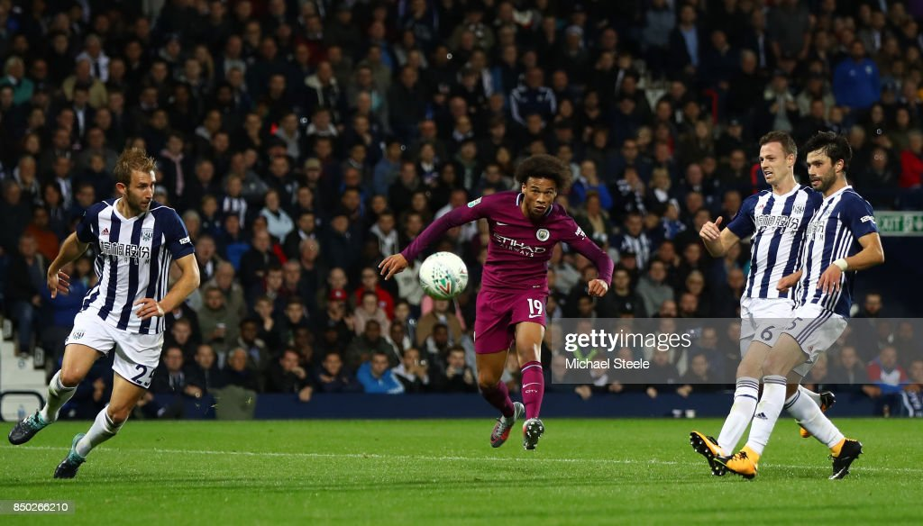 Leroy Sane of Manchester City scores his sides second goal during the Carabao Cup Third Round match between West Bromwich Albion and Manchester City at The Hawthorns September 20, 2017 in West Bromwich, England.