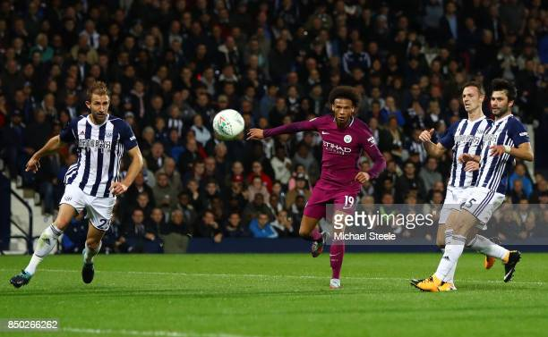 Leroy Sane of Manchester City scores his sides second goal during the Carabao Cup Third Round match between West Bromwich Albion and Manchester City...