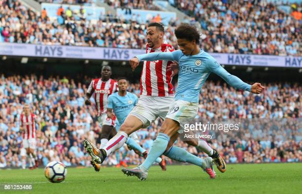 Leroy Sane of Manchester City scores his sides sixth goal during the Premier League match between Manchester City and Stoke City at Etihad Stadium on...