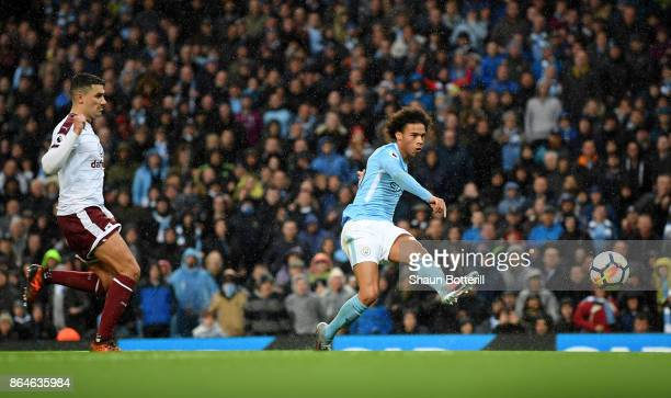 Leroy Sane of Manchester City scores the 3rd Manchester City goal during the Premier League match between Manchester City and Burnley at Etihad...
