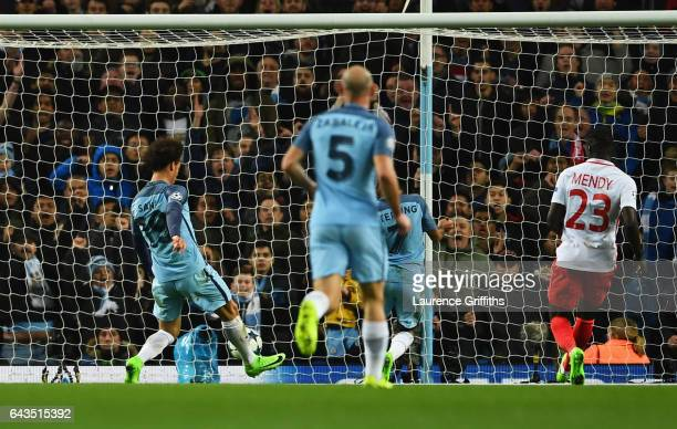 Leroy Sane of Manchester City scores their fifth goal during the UEFA Champions League Round of 16 first leg match between Manchester City FC and AS...