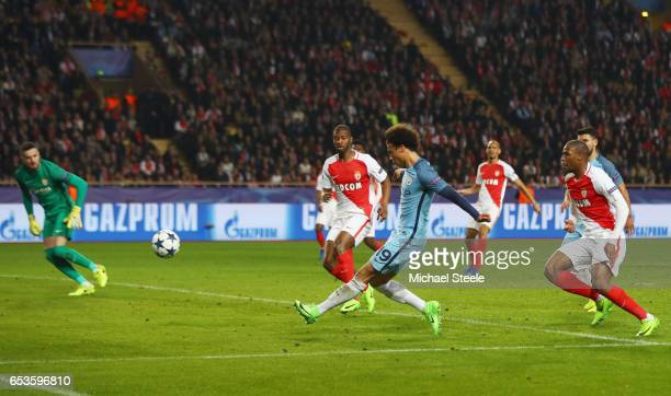 Leroy Sane of Manchester City scores their first goal during the UEFA Champions League Round of 16 second leg match between AS Monaco and Manchester...