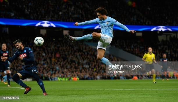 Leroy Sane of Manchester City shoots at goal during the UEFA Champions League group F match between Manchester City and SSC Napoli at Etihad Stadium...