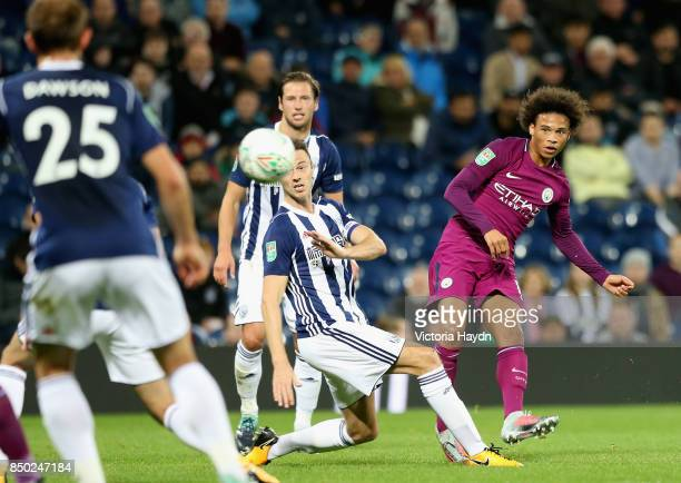 Leroy Sane of Manchester City shoots during the Carabao Cup Third Round match between West Bromwich Albion and Manchester City at The Hawthorns...
