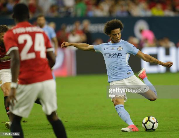 Leroy Sane of Manchester City shoots on goals in the second half against Manchester United at NRG Stadium on July 20 2017 in Houston Texas