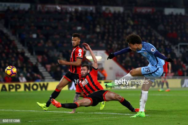 Leroy Sane of Manchester City shoots past Steve Cook of Bournemouth during the Premier League match between AFC Bournemouth and Manchester City at...