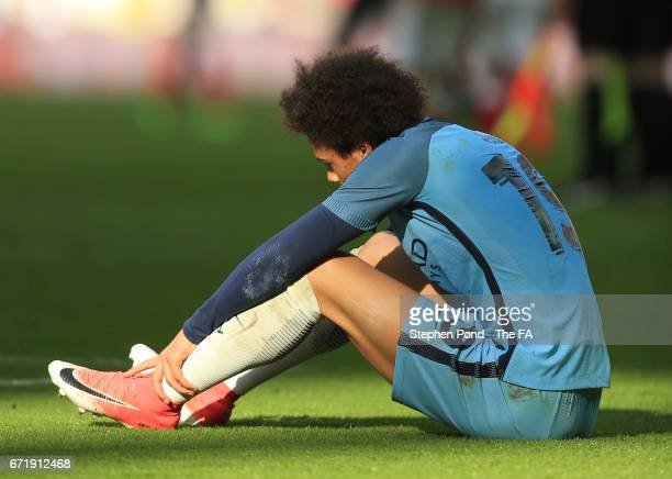 Leroy Sane of Manchester City shows dejection after the Emirates FA Cup SemiFinal match between Arsenal and Manchester City at Wembley Stadium on...