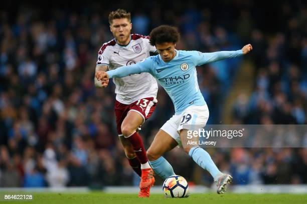 Leroy Sane of Manchester City takes on Jeff Hendrick of Burnley during the Premier League match between Manchester City and Burnley at Etihad Stadium...
