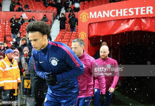 Leroy Sane of Manchester City warms up during the Premier League match between Manchester United and Manchester City at Old Trafford on December 10...