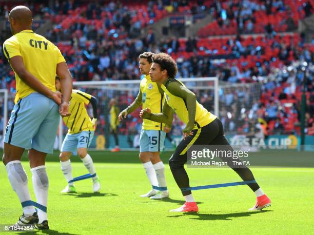Leroy Sane of Manchester City warms up prior to the Emirates FA Cup SemiFinal match between Arsenal and Manchester City at Wembley Stadium on April...