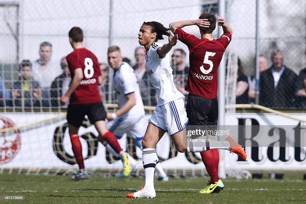 Leroy Sane of Schalke celebrates after scoring their first goal during the DFB Junioren Pokal Semifinal match between Hannover 96 and FC Schalke 04...