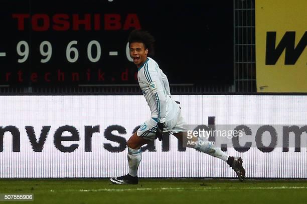 Leroy Sane of Schalke celebrates his team's second goal during the Bundesliga match between SV Darmstadt 98 and FC Schalke 04 at MerckStadion am...