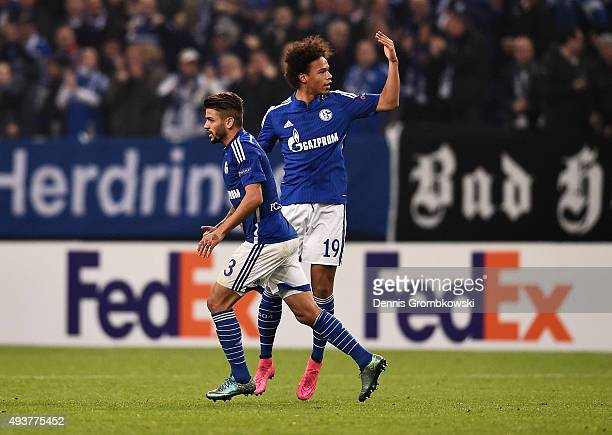Leroy Sane of Schalke celebrates wtih Junior Caicara as he scores their second goal during the UEFA Europa League Group K match between FC Schalke 04...