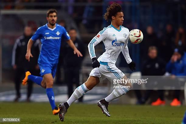 Leroy Sane of Schalke controles the ball during the Bundesliga match between SV Darmstadt 98 and FC Schalke 04 at MerckStadion am Boellenfalltor on...