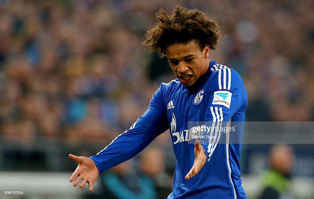 Leroy Sane of Schalke reacts during the Bundesliga match between FC Schalke 04 and VfL Wolfsburg at Veltins-Arena on February 6, 2016 in Gelsenkirchen, Germany.